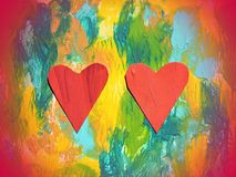 Colorful painted abstract and two red hearts Royalty Free Stock Photo