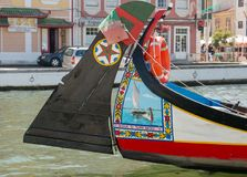 Colorful painted boat in Aveiro royalty free stock image