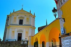 Traditional Italian architecture and church at Via Vittorialе street in Gardone Riviera Italy royalty free stock photo
