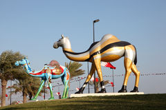 Colorful painted camels in Manama, Bahrain Royalty Free Stock Image
