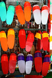 Colorful painted chinese clogs Stock Images