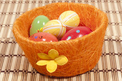 Colorful painted easter eggs Stock Photos