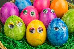 Colorful easter eggs with eyes Royalty Free Stock Photography