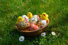Colorful painted easter eggs on a green grass royalty free stock photo