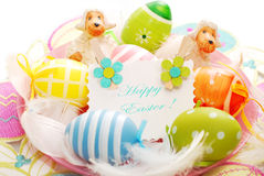 Colorful easter eggs and greetings card Stock Photo