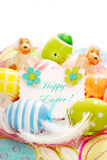 Colorful easter eggs and greetings card Royalty Free Stock Photos