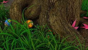 Easter Egg Hunt. Colorful painted Easter eggs hidden in grass by tree with fallen Maple leaves Royalty Free Stock Photo