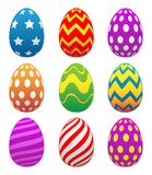 Colorful Painted Easter Eggs Isolated Vector Illustration. Brightly painted set of nine Easter eggs vector graphic isolated for easy editing vector illustration