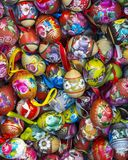 Colorful painted Easter eggs in a large amount.  Stock Photo