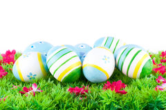 Colorful painted easter eggs located on a meadow with flowers Stock Images