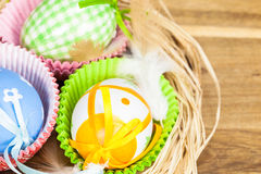 Colorful painted Easter eggs in nest Stock Photo