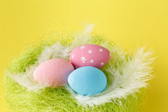 Colorful painted easter eggs with shallow focus royalty free stock images