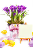 Colorful painted easter eggs and spring flowers stock image