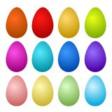 12 Colorful Painted Easter Eggs on white, stock vector illustrat royalty free illustration