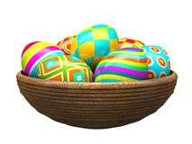 Colorful painted easter eggs in wood plate Stock Image