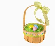 Colorful painted  eggs in easter basket. Colorful painted easter eggs in easter basket on white background Royalty Free Stock Photos