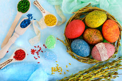 Colorful painted eggs in a nest of twigs of willow on a light background and multicolored rice for decorative painting. Royalty Free Stock Images