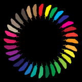 Colorful painted feathers folded into a circle Royalty Free Stock Image