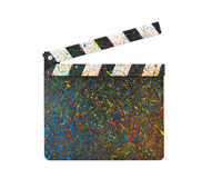 Colorful painted film clapperboard Stock Images