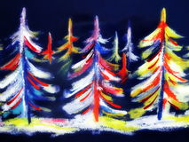 Colorful painted fir trees Stock Photo