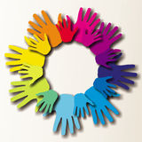 Colorful painted hands. Hold together Stock Photos