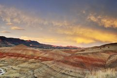 Colorful painted hills at sunset, Mitchell, Oregon Royalty Free Stock Image