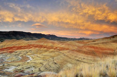 Colorful painted hills at sunset, Mitchell, Oregon Royalty Free Stock Images