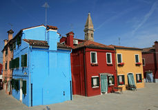 Colorful painted houses in Burano Royalty Free Stock Images