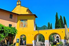 Colorful traditional buildings at Via Vittorialе street in Gardone Riviera Italy royalty free stock photo