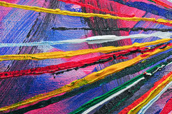 Colorful Painted Lines. Abstract art with textured lines and many colors: red, blue, purple, yellow magenta, green and black Stock Photos