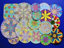 Colorful painted mandalas pattern Stock Image