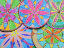 Colorful painted mandalas pattern Royalty Free Stock Photo