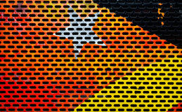 Colorful painted metal sheet perforated Stock Images