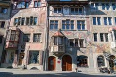 Colorful painted old building in historic swiss town Stein Am Rhein. STEIN AM RHEIN, SWITZERLAND - MARCH 24, 2018 : Colorful painted old building in historic royalty free stock photo