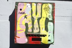 Condom vending machine. Colorful painted old Kondomat, condom vending machine Stock Photos