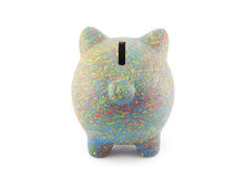 Colorful painted piggy bank Stock Images