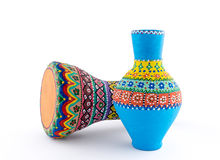 Colorful painted pottery vase and goblet drum Royalty Free Stock Photography