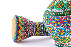 Colorful painted pottery vase and goblet drum Stock Image