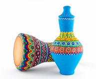 Colorful painted pottery vase and goblet drum Stock Images