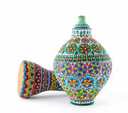 Colorful painted pottery vase and goblet drum Stock Photo