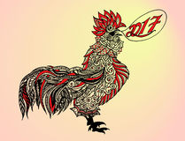 Colorful painted rooster. Colorful painted rooster head gel pens on a colorful background vector illustration