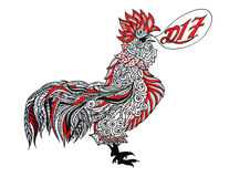 Colorful painted rooster. Colorful painted rooster head gel pens on a white background vector illustration