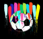 Colorful painted soccer ball abstract Stock Images
