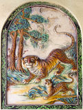 Colorful Painted Tiger Chinese Temple Wall Carving Stock Image