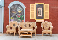 Colorful painted wall and seating Stock Images