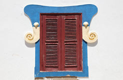 Colorful painted window, Portugal Stock Image