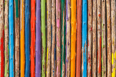 Colorful painted wood fence Stock Photos