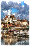 Colorful painting of Abbey of Saint-Germain. Auxerre, France Stock Photos