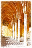 Colorful painting of Abbey of St. Jean des Vignes. Soissons, Aisne department, Picardy, France Royalty Free Stock Images