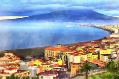 Colorful painting of aerial view on Mount Vesuvius Stock Photography